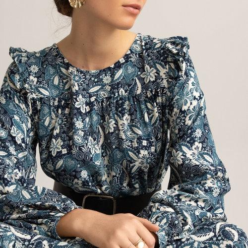Μακρύ φόρεμα με βολάν - Φορέματα - ΦΛΟΡΑΛ ΤΥΠΩΜΑ ΣΕ ΜΠΛΕ ΦΟΝΤΟ